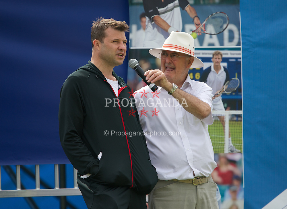 LIVERPOOL, ENGLAND - Wednesday, June 19, 2013: BBC Radio Merseyside's Alan Jackson and Barry Cowan during the Kids Day at the Liverpool Hope University International Tennis Tournament at Calderstones Park. (Pic by David Rawcliffe/Propaganda)