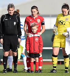 Grace McCatty captain of Bristol City Women with a mascot prior to FA Cup third round tie against QPR Ladies- Mandatory by-line: Paul Knight/JMP - Mobile: 07966 386802 - 14/02/2016 -  FOOTBALL - Stoke Gifford Stadium - Bristol, England -  Bristol Academy Women v QPR Ladies - FA Cup third round