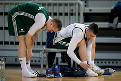 Klemen Prepelic and Matic Rebec during practice session of Slovenian National Basketball team before qualification matches for FIBA Basketball World Cup 2019, on February 20, 2017 in Arena Stozice, Ljubljana, Slovenia. Photo by Urban Urbanc / Sportida