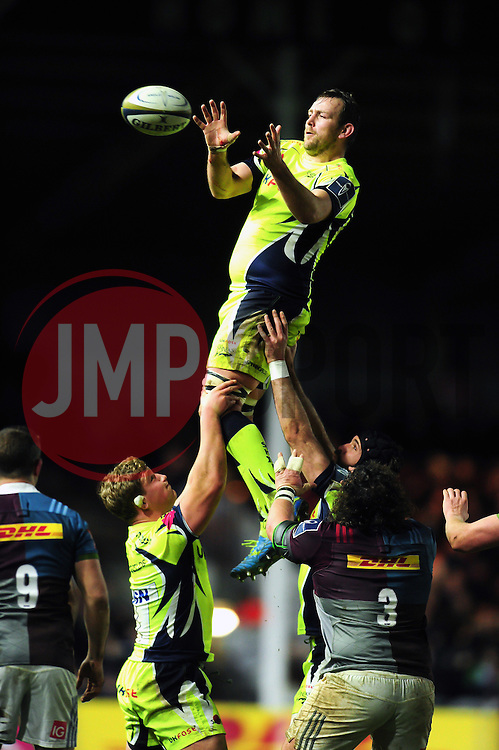 Jonathan Mills of Sale Sharks wins the ball at a lineout - Mandatory byline: Patrick Khachfe/JMP - 07966 386802 - 03/02/2017 - RUGBY UNION - The Twickenham Stoop - London, England - Harlequins v Sale Sharks - Anglo-Welsh Cup.