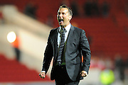 Derby County manager Darren Wassall celebrates after his teams 3-2 win over Bristol City during the Sky Bet Championship match between Bristol City and Derby County at Ashton Gate, Bristol, England on 19 April 2016. Photo by Graham Hunt.