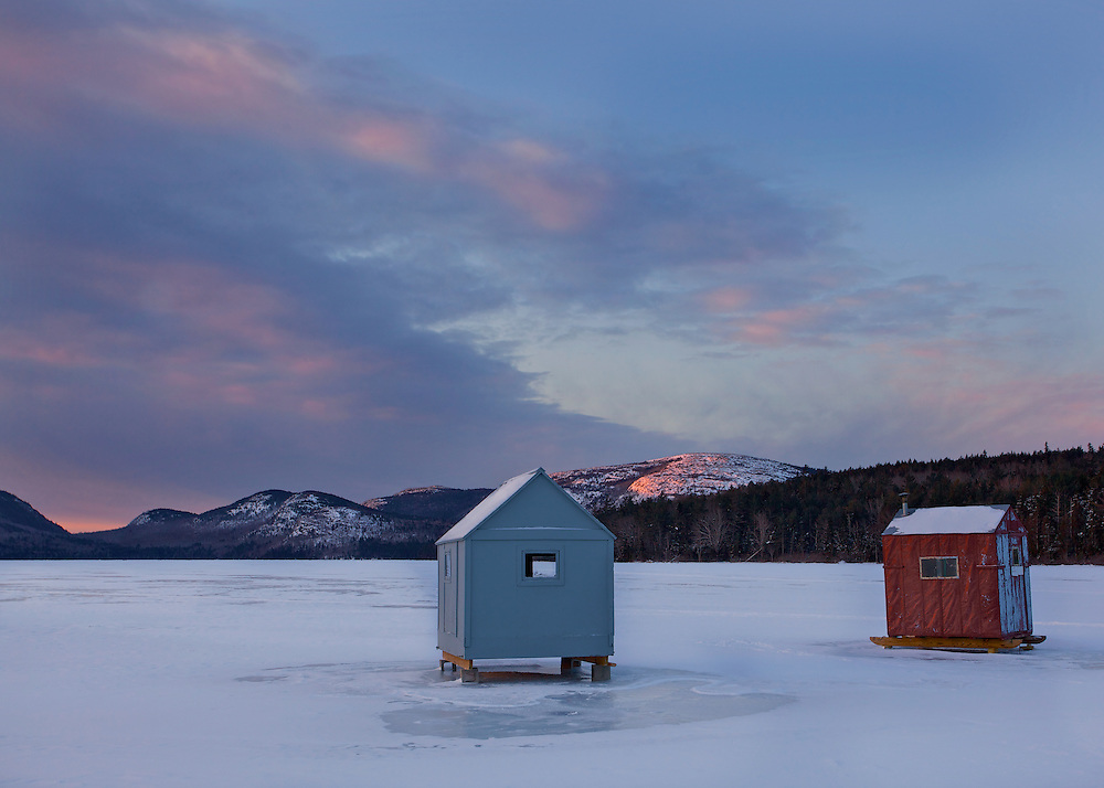 Acadia is one of the few parks that allow ice fishing. Here, shacks on Eagle Lake await the intrepid fishermen on a cold February morning.