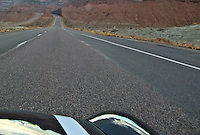 Interstate 70 and US highway US 50,  cross the San Rafael Swell of Green River, Utah panorama