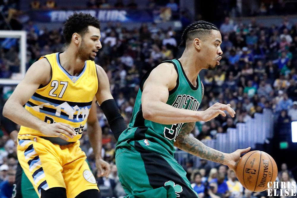 10 March 2017: Boston Celtics forward Gerald Green (30) drives past Denver Nuggets guard Jamal Murray (27) during the Denver Nuggets 119-99 victory over the Boston Celtics, at the Pepsi Center, Denver, Colorado, USA.
