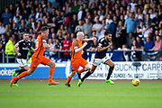 Dundee United midfielder Willo Flood (#16) chases Dundee forward Faissal El Bakhtaoui (#20) as he bursts down the wing during the Betfred Scottish Cup group stage match between Dundee and Dundee United at Dens Park, Dundee, Scotland on 29 July 2017. Photo by Craig Doyle.