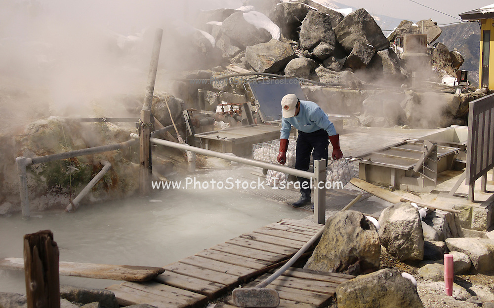 Japan, Hakone,  Hot Water Spring Man cooks eggs in the hot water