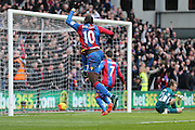 Crystal Palace midfielder Yannick Bolasie  celebrates Crystal Palace midfielder Joe Ledley  goal  making it 1-0 to Crystal Palace during the Barclays Premier League match between Crystal Palace and Liverpool at Selhurst Park, London, England on 6 March 2016. Photo by Simon Davies.