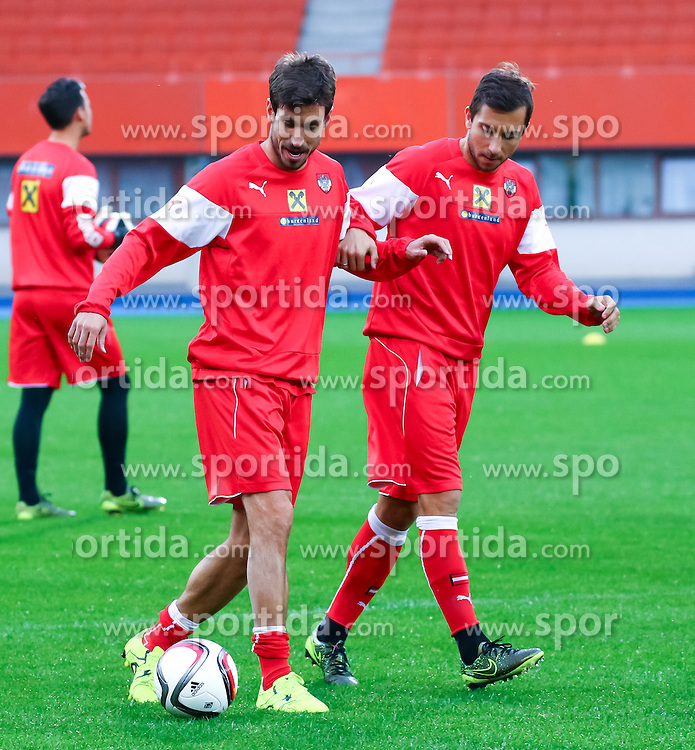 07.10.2015, Ernst Happel Stadion, Wien, AUT, UEFA Euro 2016 Qualifikation, Training Österreich für die Spiele gegen Montenegro und Liechtenstein, im Bild György Garics (AUT), Markus Suttner (AUT)// during an Austrian training session for the UEFA EURO 2016 qualifier group G matches against Montenegro and Liechtenstein at the Ernst Happel Stadion, Vienna, Austria on 2015/10/07. EXPA Pictures © 2015 PhotoCredit: EXPA/ Sebastian Pucher