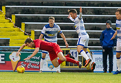 Brora Rangers Tom Kelly brought down for their penalty. half time : Morton 1 v 1 Brora Rangers, 3rd Round of the Scottish Cup played 23/11/2019 at Cappielow, Greenock.