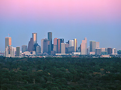 The Houston, Texas skyline as viewed from the west.