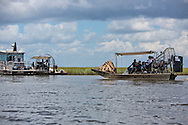Airboat stained with oil used in the Hilcorp oil spill cleanup effort. An estimated 4,200 gallons of crude oil attributed to oil and gas extraction company Hilcorp spilled in the marsh near Lake Grande Ecaille, part of Barataria Bay, on July 25.