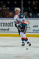 KELOWNA, CANADA - JANUARY 9: Schael Higson #21 of the Kelowna Rockets warms up for his first game with the team against the Everett Silvertips on January 9, 2019 at Prospera Place in Kelowna, British Columbia, Canada.  (Photo by Marissa Baecker/Shoot the Breeze)