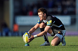 Henry Slade of Exeter Chiefs lines the ball up for a kick at the posts - Photo mandatory by-line: Patrick Khachfe/JMP - Mobile: 07966 386802 07/03/2015 - SPORT - RUGBY UNION - Exeter - Sandy Park - Exeter Chiefs v London Welsh - Aviva Premiership