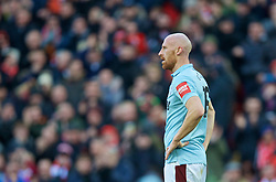 LIVERPOOL, ENGLAND - Saturday, February 24, 2018: West Ham United's James Collins looks dejected as Liverpool score the third goal during the FA Premier League match between Liverpool FC and West Ham United FC at Anfield. (Pic by David Rawcliffe/Propaganda)