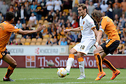 Goalscorer Nikica Jelavić is stopped by Richard Stearman during the Sky Bet Championship match between Wolverhampton Wanderers and Hull City at Molineux, Wolverhampton, England on 16 August 2015. Photo by Alan Franklin.