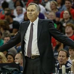 Mar 17, 2017; New Orleans, LA, USA; Houston Rockets head coach Mike D'Antoni reacts during the second half of a game against the New Orleans Pelicans at the Smoothie King Center. The Pelicans defeated the Rockets 128-112.  Mandatory Credit: Derick E. Hingle-USA TODAY Sports