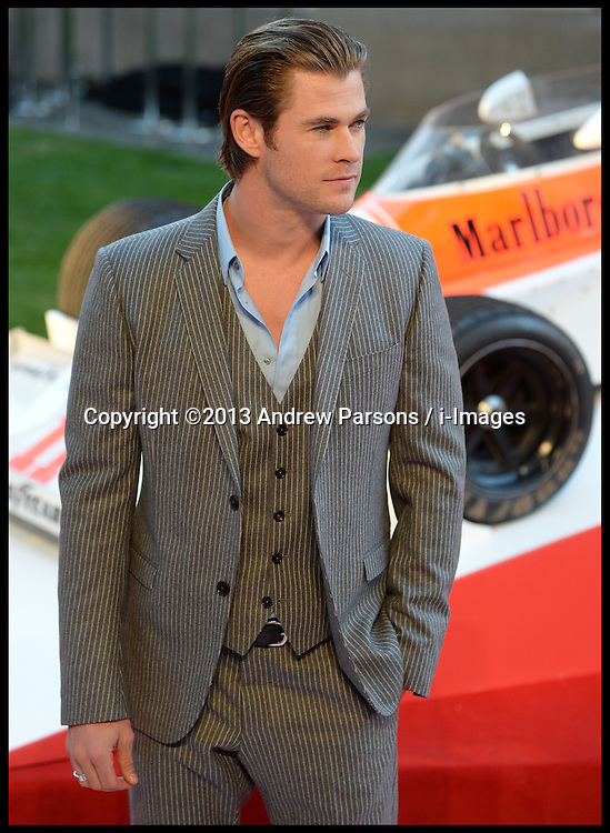 Rush - UK film premiere. <br /> Chris Hemsworth during the 'Rush' - UK film premiere, Odeon, London, United Kingdom. Monday, 2nd September 2013. Picture by Andrew Parsons / i-Images