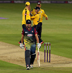 Hampshire's Will Smith celebrates the wicket of Kent's Fabian Cowdrey - Photo mandatory by-line: Robbie Stephenson/JMP - Mobile: 07966 386802 - 22/05/2015 - SPORT - Football - Southampton - Ageas Bowl - Hampshire v Kent Spitfires - T20 Blast