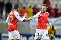 FOOTBALL - FRENCH CHAMPIONSHIP 2010/2011 - L2 - STADE DE REIMS v US BOULOGNE - 15/04/2011 - PHOTO GUILLAUME RAMON / DPPI - JOY OF LUCAS DEAUX (REIMS) AFTER THIS GOAL