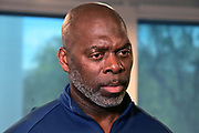 Mar t5, 2019; Costa Mesa, CA, USA; Los Angeles Chargers coach Anthony Lynn at a press conference at the Hoag Performance Center.