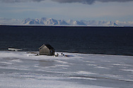 Backcountry skiiers stop at coastal hut in April between Longyearbyen and Barentsburg; Svalbard, Norway.