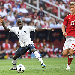 Ngolo Kante of France and Andreas Cornelius of Denmark during the FIFA World Cup Group C match between Denmark and France at Luzhniki Stadium on June 26, 2018 in Moscow, Russia. (Photo by Anthony Dibon/Icon Sport)