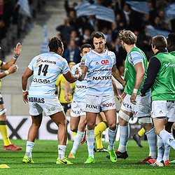 Juan Imhoff of Racing 92 celebrates his try during the Top 14 match between Racing 92 and Clermont Auvergne at Stade Pierre-Mauroy on March 25, 2017 in Lille, France. (Photo by Anthony Dibon/Icon Sport)