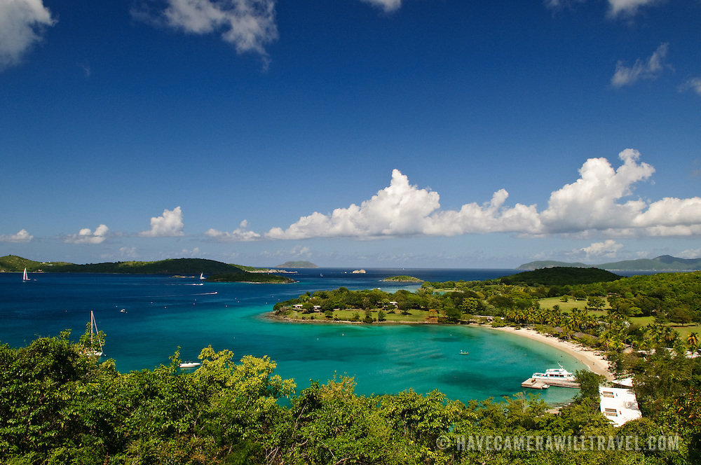 Elevated view of Caneel Bay's famous resort on St. John, in the US Virgin Islands