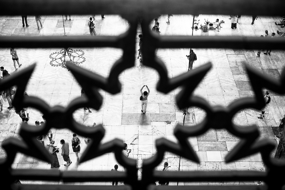 Visitors to the Hagia Sophia, in Istanbul,  seen from one of the balconies.