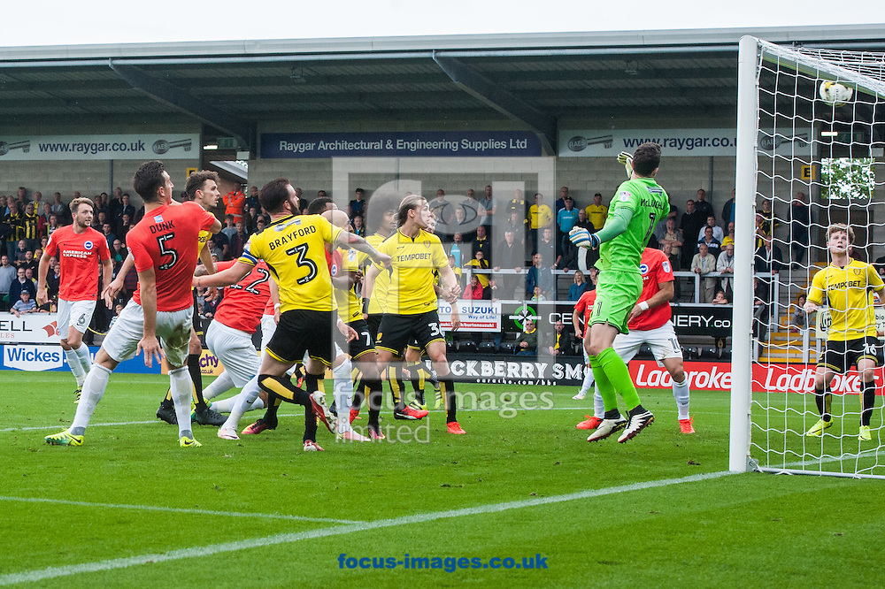 Lewis Dunk of Brighton and Hove Albion (2nd left) sees his header hit the bar during the Sky Bet Championship match at the Pirelli Stadium, Burton upon Trent<br /> Picture by Matt Wilkinson/Focus Images Ltd 07814 960751<br /> 17/09/2016