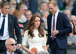 © Licensed to London News Pictures. 2/07/2014. London, UK .  Hugh Grant, HRH The Duke & HRH The Duchess of Cambridge, Prince William and Kate watch Andy Murray on the Cenre Court  on Day 9 of the Wimbledon Tennis Championships 2014. Photo credit : Mike King/LNP