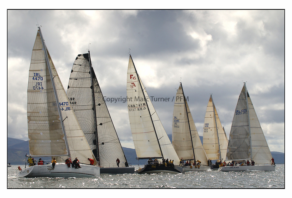 The third days racing at the Bell Lawrie Yachting Series in Tarbert Loch Fyne, Perfect conditions finally arrived for competitors on the three race courses...Jacana over the line at the Class one start..
