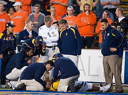 November 7, 2009; Berkeley, CA, USA;  California Golden Bears running back Jahvid Best (4) is attended to after sustaining an injury on a touchdwon score during the second quarter against the Oregon State Beavers  at Memorial Stadium.