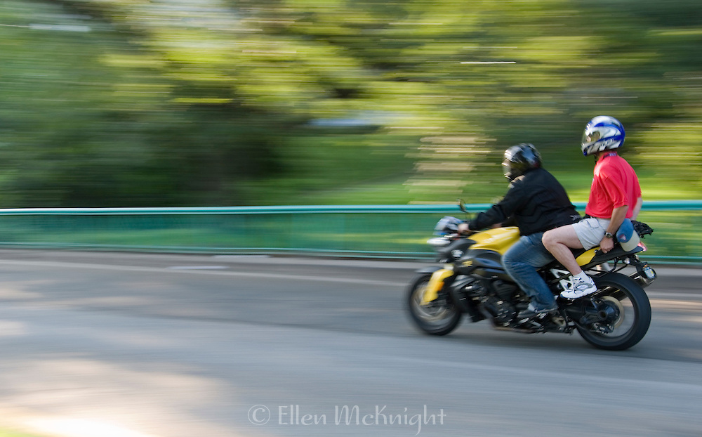 Two Men on a Motorbike in Riverside Park, Manhattan