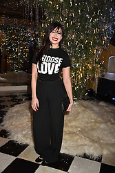 Daisy Lowe at reception to celebrate the launch of the Claridge's Christmas Tree 2017 at Claridge's Hotel, Brook Street, London England. 28 November 2017.<br /> Photo by Dominic O'Neill/SilverHub 0203 174 1069 sales@silverhubmedia.com