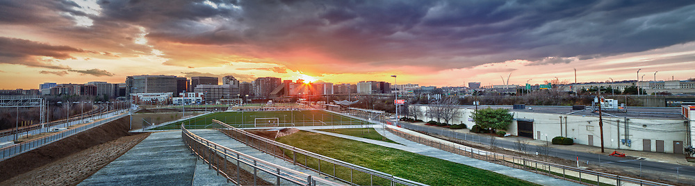 A panoramic image of a winter sunset over Crystal and Pentagon City in Arlington, Virginia, taken from Long Bridge Park.  (Photo 7 of the 366:2012 Project).
