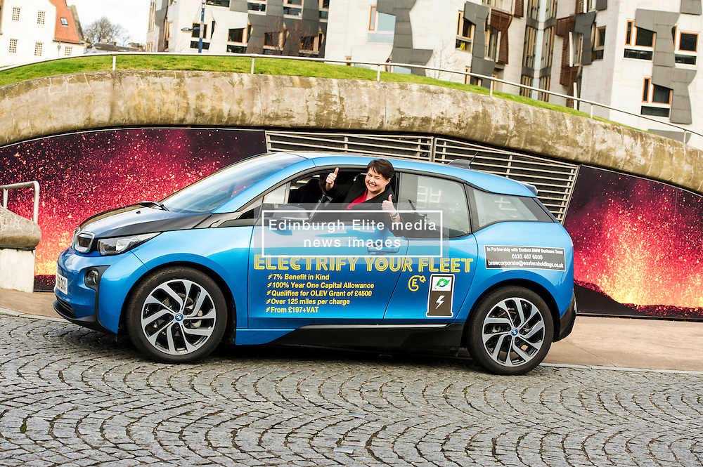 Pictured: Ruth Davidson<br /> Scottish Conservative leader Ruth Davidson launched the party's environment paper today in Edinburgh.  As part of Scottish Environment Week, she was joined by shadow environment secretary Maurice Golden in driving an electric BMW i3 car<br /> <br /> Ger Harley   EEm 22 February 2017