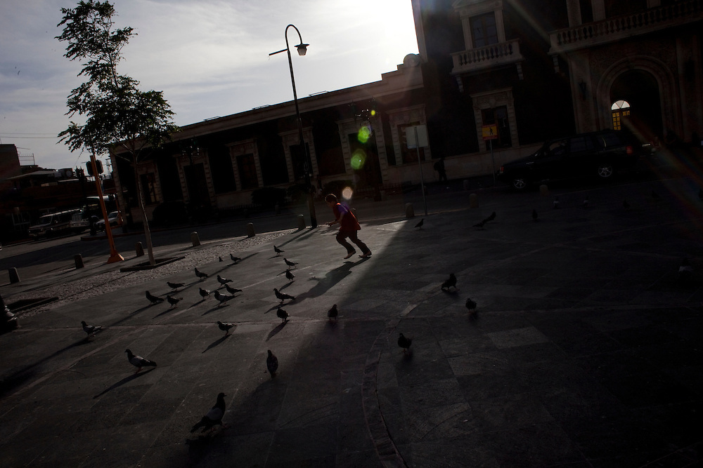 A child chases pigeons in the city center in Ciudad Juarez, Chihuahua on May 12, 2010.