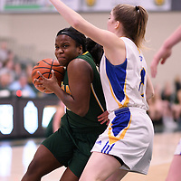 2nd year guard Kyanna Giles (9) of the Regina Cougars in action during the Women's Basketball Playoff Game on February  16 at Centre for Kinesiology, Health and Sport. Credit: Arthur Ward/Arthur Images