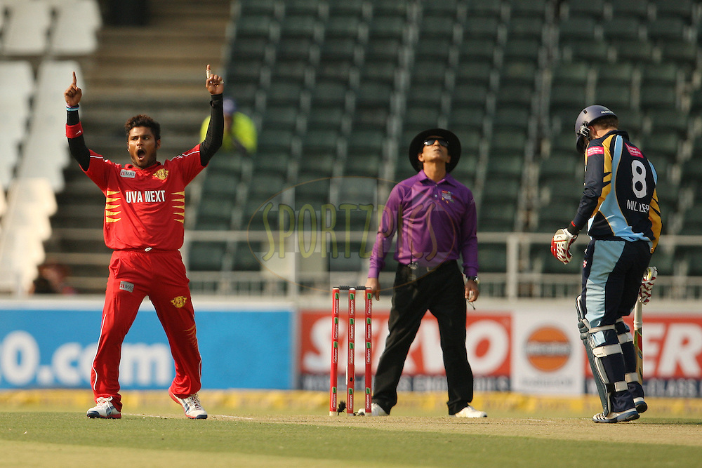 Dilshan Munaweera celebrates a wicket during 1st Qualifying match of the Karbonn Smart CLT20 South Africa between Uva Next and Yorkshire held at The Wanderers Stadium in Johannesburg, South Africa on the 9th October 2012..Photo by Jacques Rossouw/SPORTZPICS/CLT20