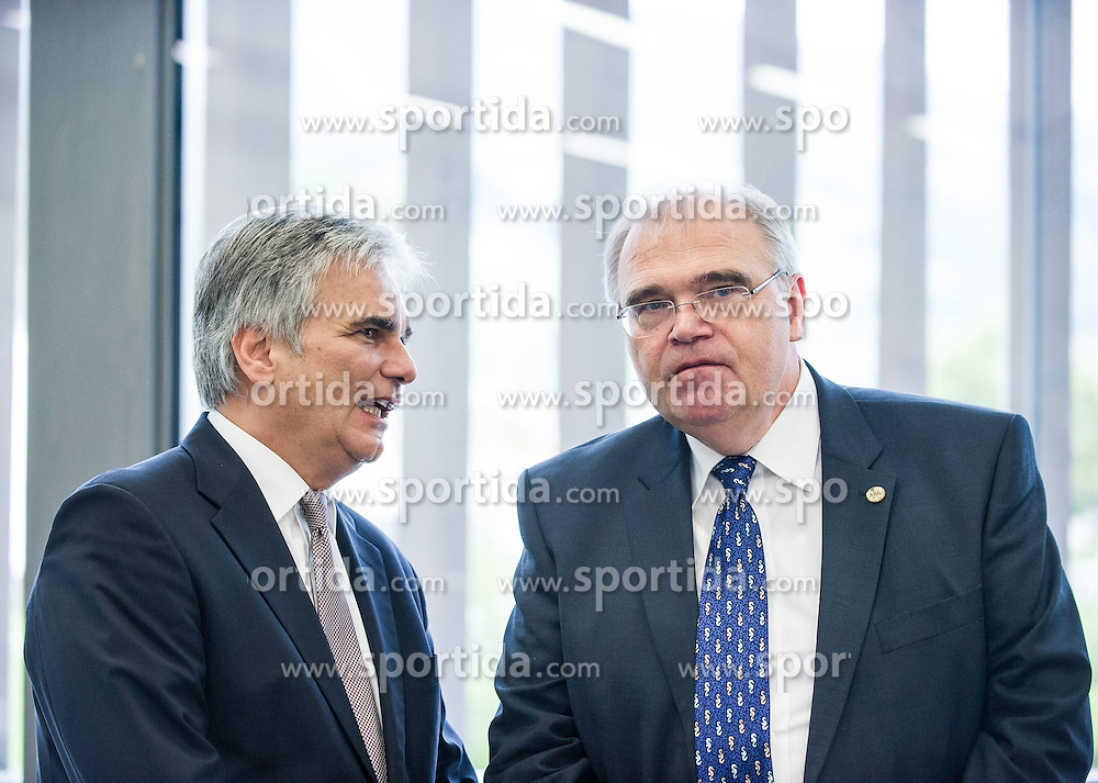 26.09.2014, Congress, Schladming, AUT, Bundesregierung, Regierungsklausur, im Bild v.l.n.r. Bundeskanzler Werner Faymann (SPOe) und Bundesminister fuer Justiz Wolfgang Brandstetter (OeVP) // f.l.t.r. Federal Chancellor of Austria Werner Faymann (SPOe) and Minister of Justice Wolfgang Brandstetter (OeVP) during convention of the austrian government at congress center in Schladming, Austria on 2014/09/26, EXPA Pictures © 2014, PhotoCredit: EXPA/ Michael Gruber