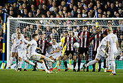 Kalvin Phillips of Leeds United shoot over from a free kick during the EFL Sky Bet Championship match between Leeds United and Sheffield Utd at Elland Road, Leeds, England on 27 October 2017. Photo by Paul Thompson.