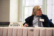 Thomas Suddes listens to a question being answered during the 2018 Baker Peace Conference forum, The Populism, The Press, and The Election of 2016.