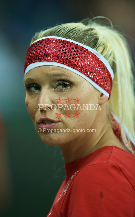 COPENHAGEN, DENMARK - Wednesday, November 19, 2008: A Danish cheerleader before Denmark's international friendly match against Wales at the Brøndby Stadium. (Photo by David Rawcliffe/Propaganda)