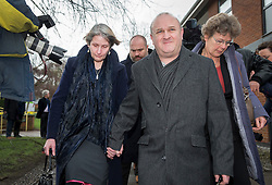 © Licensed to London News Pictures. 02/03/2016. Ampthill, UK.  Alison and Ray Johnson leave the coroner's court after attending a pre-inquest review into the death of their son, Conservative party activist Elliott Johnson. Mr Johnson was found dead on a railway line in Bedfordshire a few weeks after he raised concerns about the way he had been treated in the Conservative youth wing. Photo credit: Peter Macdiarmid/LNP