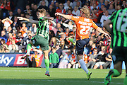 Jake Reeves of AFC Wimbledon and Craig Mackail-Smith synchronise during the Sky Bet League 2 match between Luton Town and AFC Wimbledon at Kenilworth Road, Luton, England on 26 September 2015. Photo by Stuart Butcher.