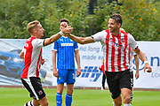 Goal - Aaron Martin (5) of Exeter City celebrates scoring a goal to make the score 5-1 with Lee Martin (7) of Exeter City during the EFL Sky Bet League 2 match between Exeter City and Notts County at St James' Park, Exeter, England on 8 September 2018.