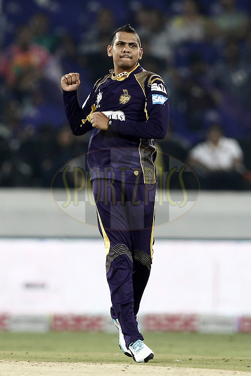 Sunil Narine of the Kolkata Knight Riders celebrates the wicket of Asif Raza of the LAHORE LIONS during match 7 of the Oppo Champions League Twenty20 between the Kolkata Knight Riders and the Lahore Lions held at the Rajiv Gandhi Cricket Stadium, Hyderabad, India on the 21st September 2014<br /> <br /> Photo by:  Deepak Malik / Sportzpics/ CLT20<br /> <br /> <br /> Image use is subject to the terms and conditions as laid out by the BCCI/ CLT20.  The terms and conditions can be downloaded here:<br /> <br /> http://sportzpics.photoshelter.com/gallery/CLT20-Image-Terms-and-Conditions-2014/G0000IfNJn535VPU/C0000QhhKadWcjYs