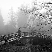 A woman walking across a wooden bridge in the fog.