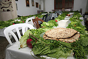 Table set for the Pesach (Passover) traditional Seder feast with Matzo, Wine, Hard boiled eggs and lettuce